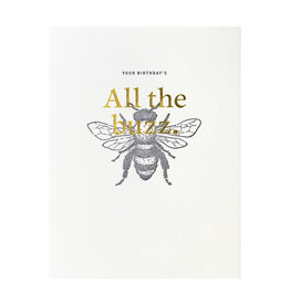 Woodsy Foxman All the Buzz Letterpress Card