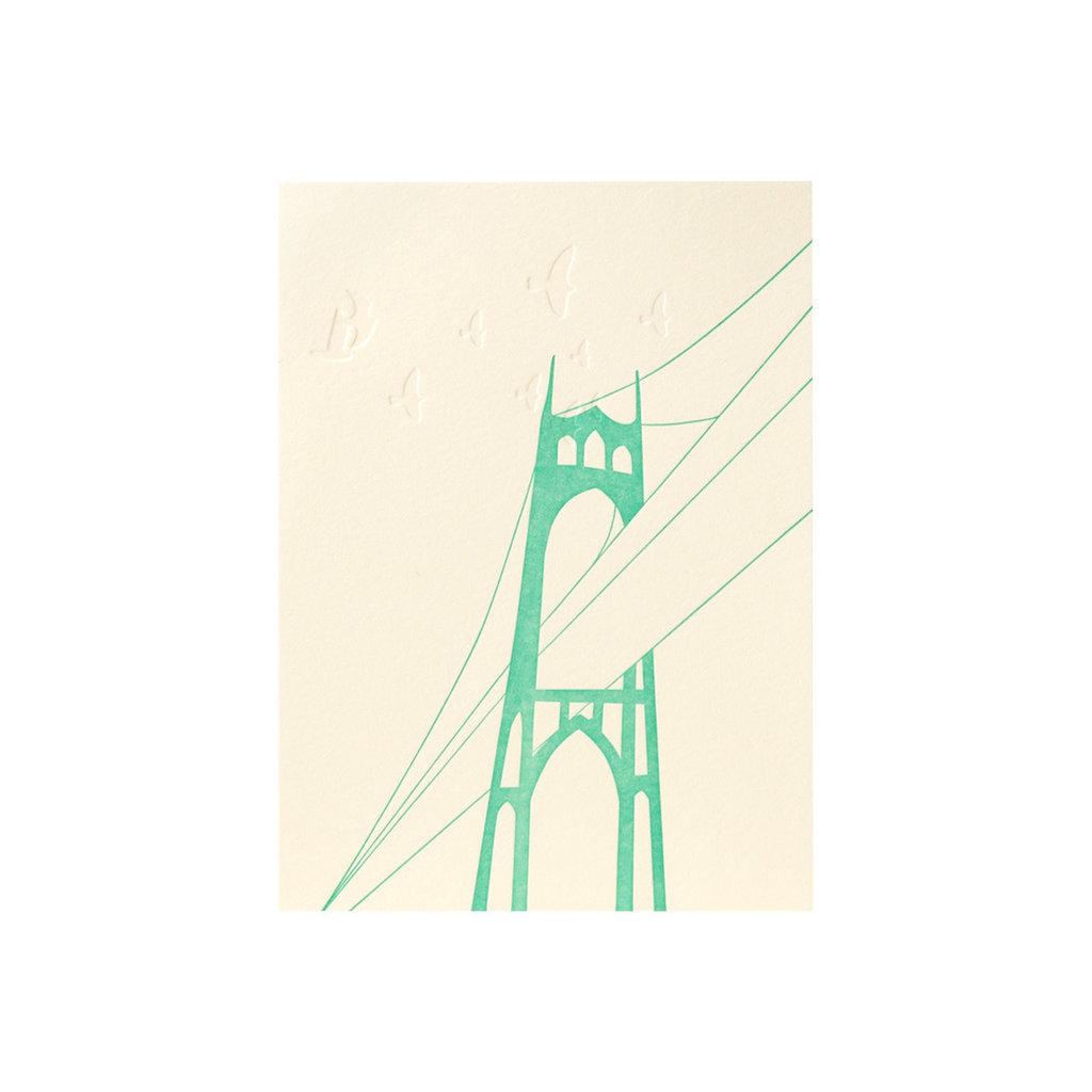 Lark Press St. John's Bridge Letterpress Card