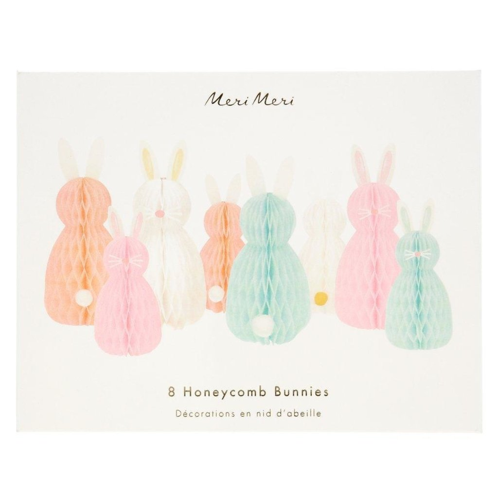 Meri Meri Honeycomb Spring Bunnies Decor - Set of 8