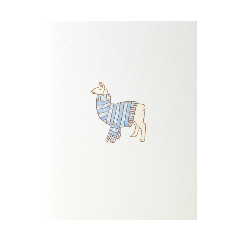 Green Bird Press Llama Sweater Letterpress Card
