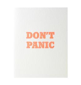 Green Bird Press Don't Panic Letterpress Card