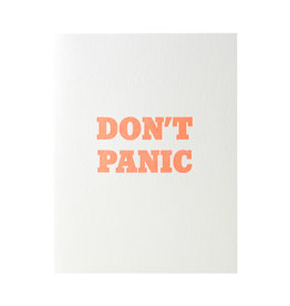 Green Bird Press Don't Panic Letterpress Card