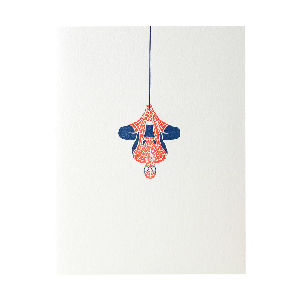 Green Bird Press Spiderman Letterpress Card
