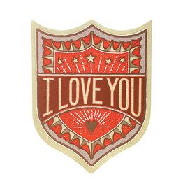Hammerpress I Love You Badge Letterpress Card