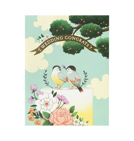 Birds on Wedding Cake Greeting Card