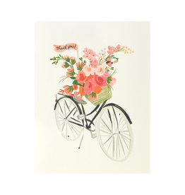 Bicycle Basket Thanks Greeting Card