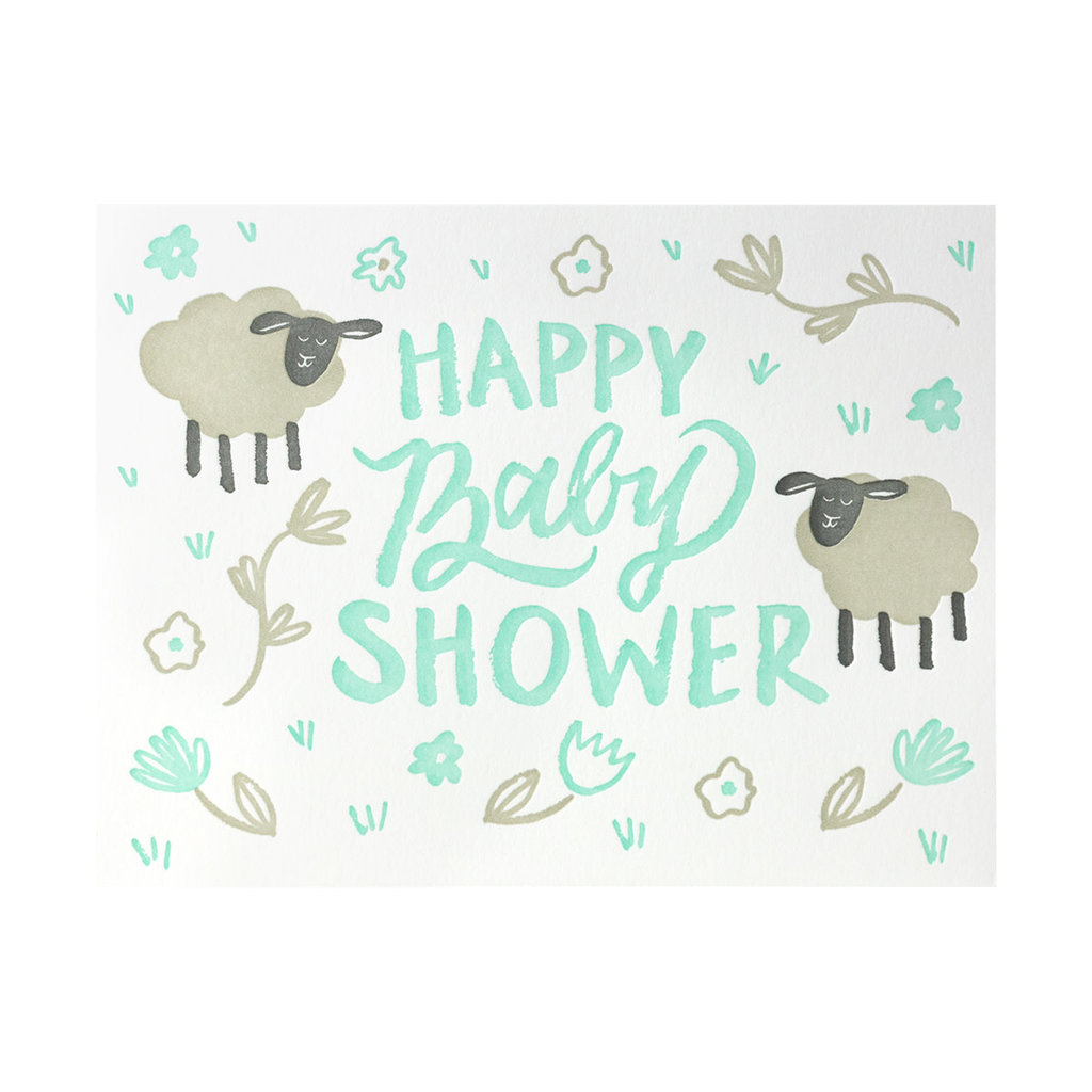 9th Letterpress Ba Ba Baby Shower Letterpress Card