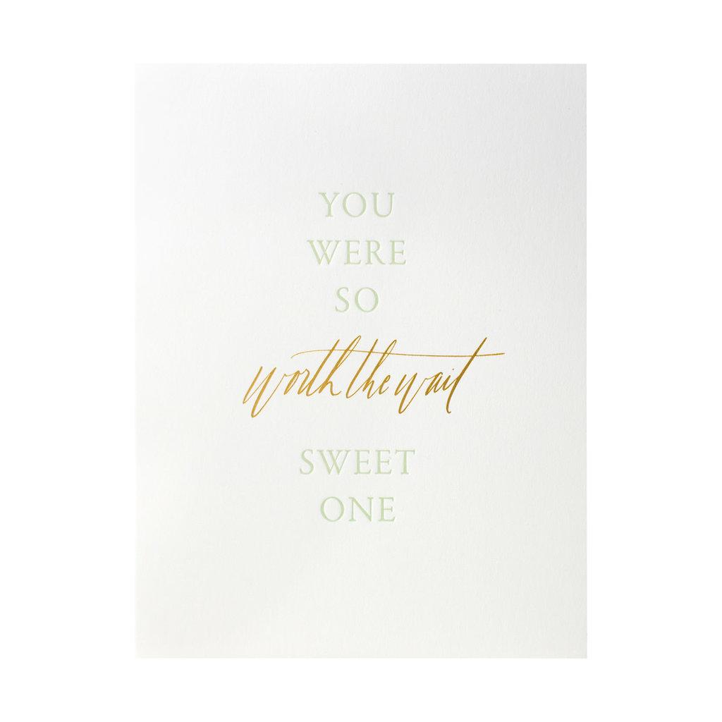 Little Well Paper Co. Worth the Wait Letterpress Card
