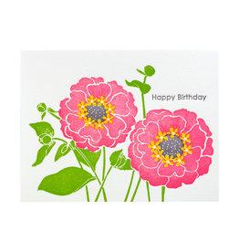 Ilee Papergoods Zinnias Happy Birthday Letterpress Card