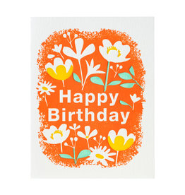 Ilee Papergoods Flowers with Orange Birthday Letterpress Card