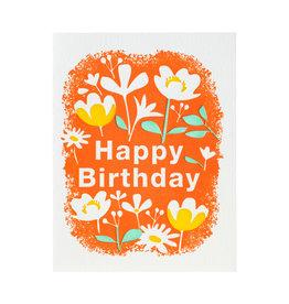 Ilee Papergoods Flowers with Orange Birthday Letterpress Card