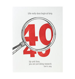 Ilee Papergoods Life Begins at 40 Letterpress Card