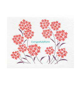Ilee Papergoods Red Flowers Congratulations Letterpress Card