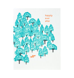 Ilee Papergoods Foxes Happily Ever After Letterpress Card