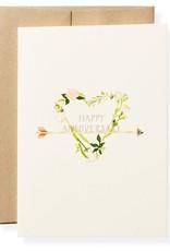 Anniversary Heart Letterpress Greeting Card
