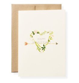 Anniversary Heart Letterpress Greeting Card