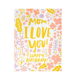 Hello! Lucky Love You Mom Birthday Letterpress Card