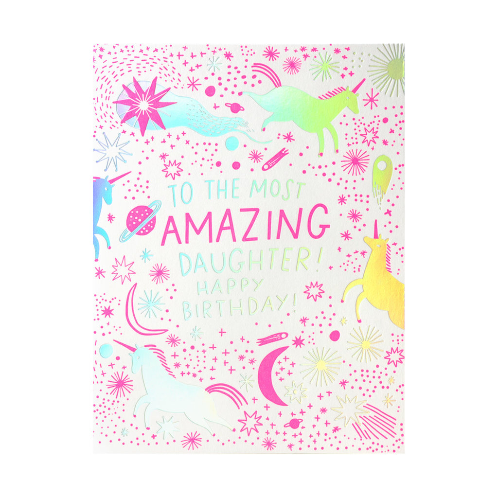 Hello! Lucky Amazing Daughter Birthday Letterpress card