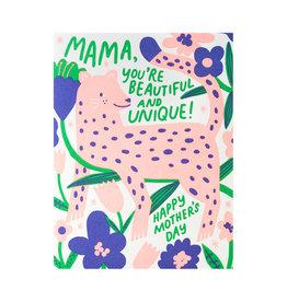 Hello! Lucky Mama Leopard Letterpress Card