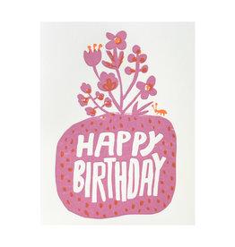 Egg Press Roots Floral Birthday Letterpress Card