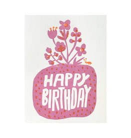 Egg Press Roots Floral Birthday Letterpress Card