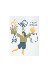 Egg Press Juggling Mom Letterpress Card