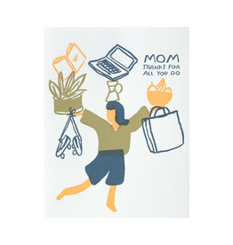Egg Press Juggling Mom Letterpress Card