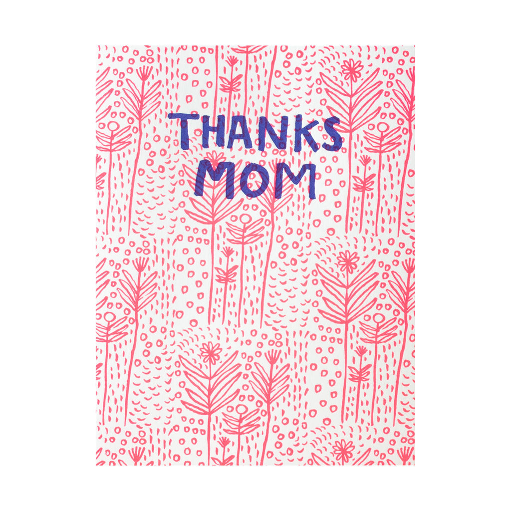 Egg Press Thanks Mom Folk Floral Letterpress Card