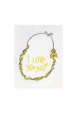 And Here We Are Macaroni Necklace Letterpress Card