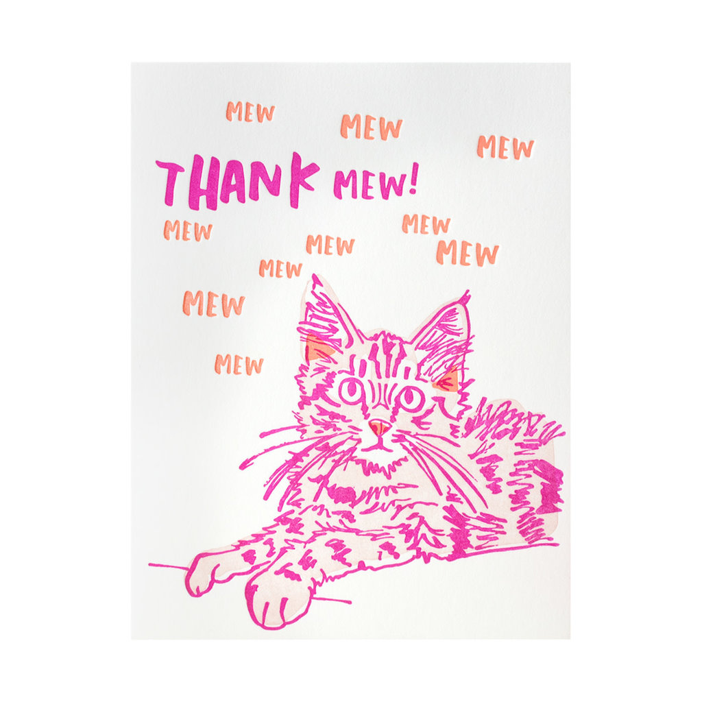 And Here We Are Thank Mew Box of 6 Letterpress Cards