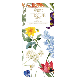 Caspari Redoute Floral and White Tissue Package - 4 Sheets