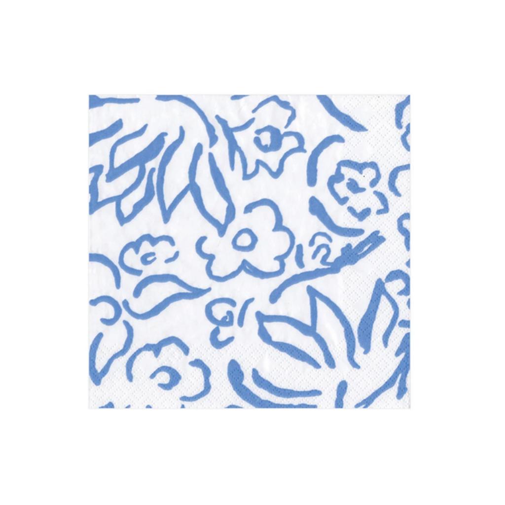 Caspari Matisse Blue Cocktail Napkin