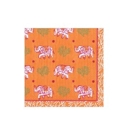 Caspari Batik Elephants Orange Cocktail Napkins