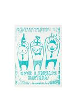 Ghost Academy Kickass Birthday Woodblock Print Card