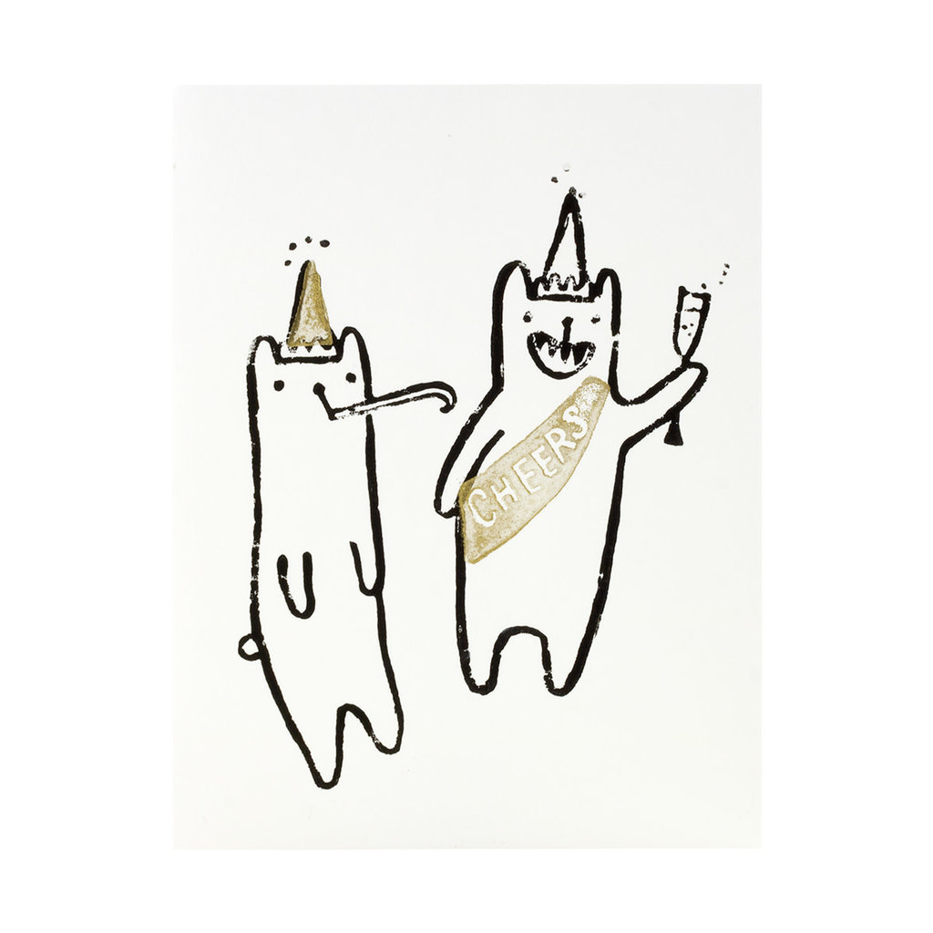 Ghost Academy Party Bears Woodblock Print Card
