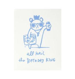 Ghost Academy Birthday King Woodblock Print Card