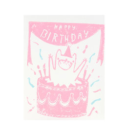 Ghost Academy Jumping Out Of A Cake Woodblock Print Card