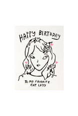 Ghost Academy Cat Lady Birthday Woodblock Print Card
