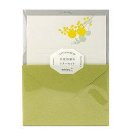 Midori Letter Set 461 Letterpressed Bouquet Yellow