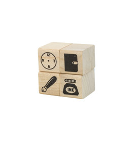 Stationery Rubber Stamps set of 4