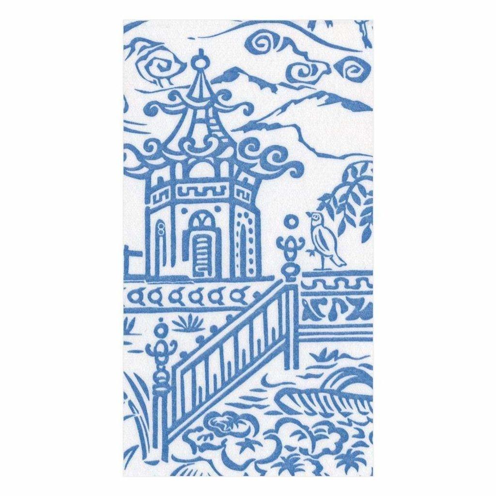 Caspari Pagoda Toile Blue Guest Towel