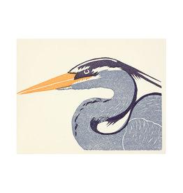 PushMePullYou Press Heron Letterpress Card