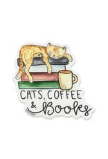 KPB Designs Cat, Coffee, & Books Sticker