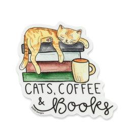 KPB Designs Cats, Coffee, & Books Sticker