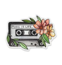 KPB Designs Music is Life Cassette Sticker