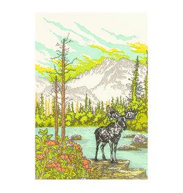 Old School Stationers Moose & Mountain Lake Letterpress Card