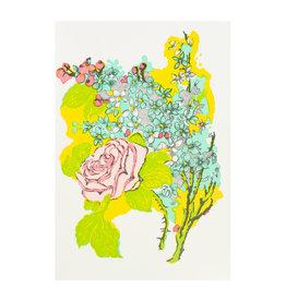Old School Stationers Pink Rose Letterpress Card