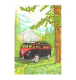 Old School Stationers VW Van in Meadow Letterpress Card