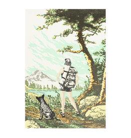Old School Stationers Backpacker & Dog Letterpress Card