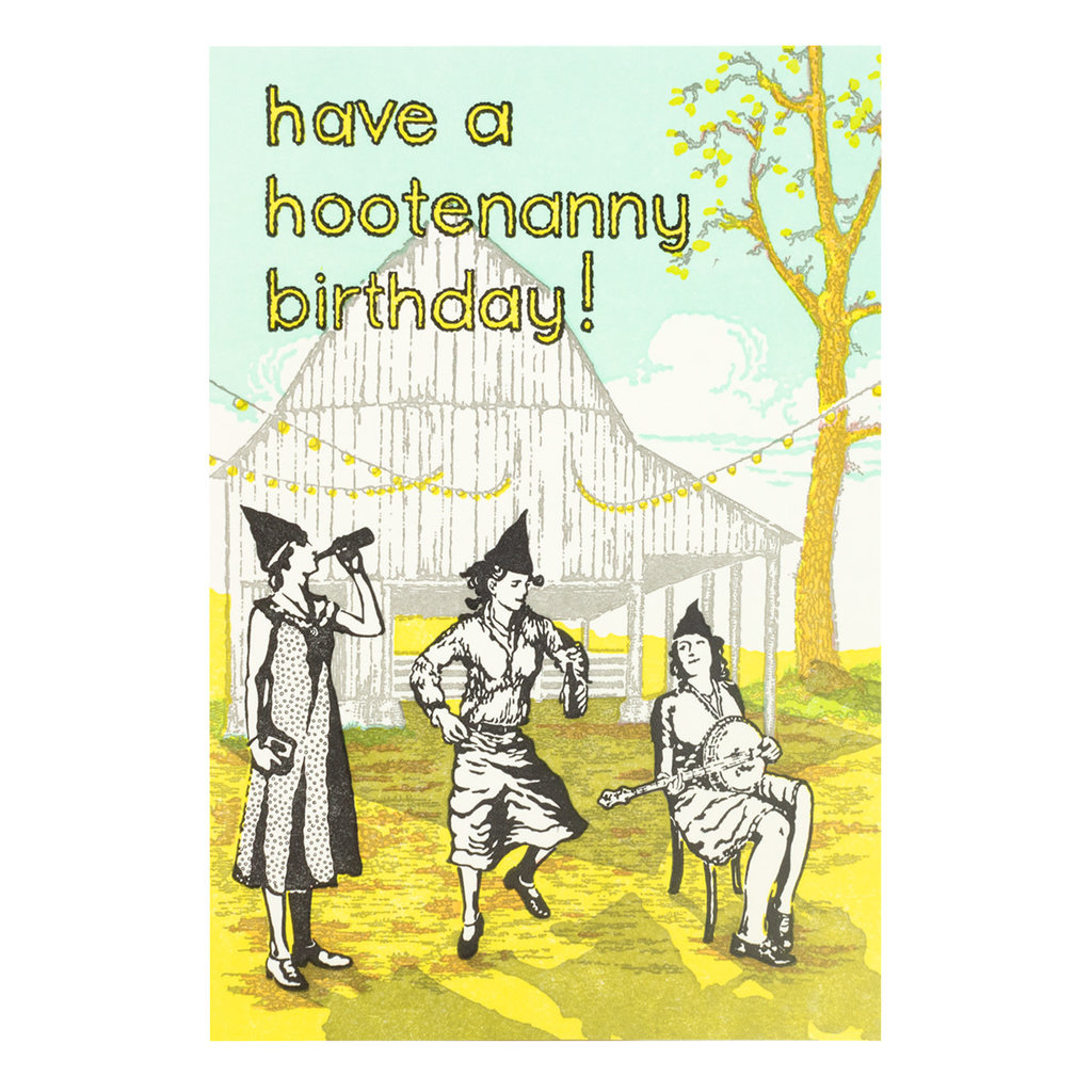Old School Stationers Have a Hootenanny Birthday Letterpress Card